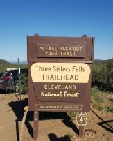 3 sisters fall trailhead sign